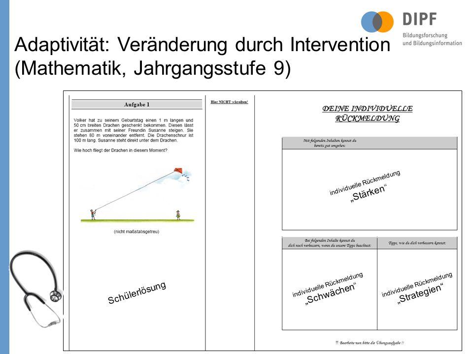 Schülerlösung individuelle Rückmeldung Stärken individuelle Rückmeldung Schwächen individuelle Rückmeldung Strategien Adaptivität: Veränderung durch Intervention (Mathematik, Jahrgangsstufe 9)