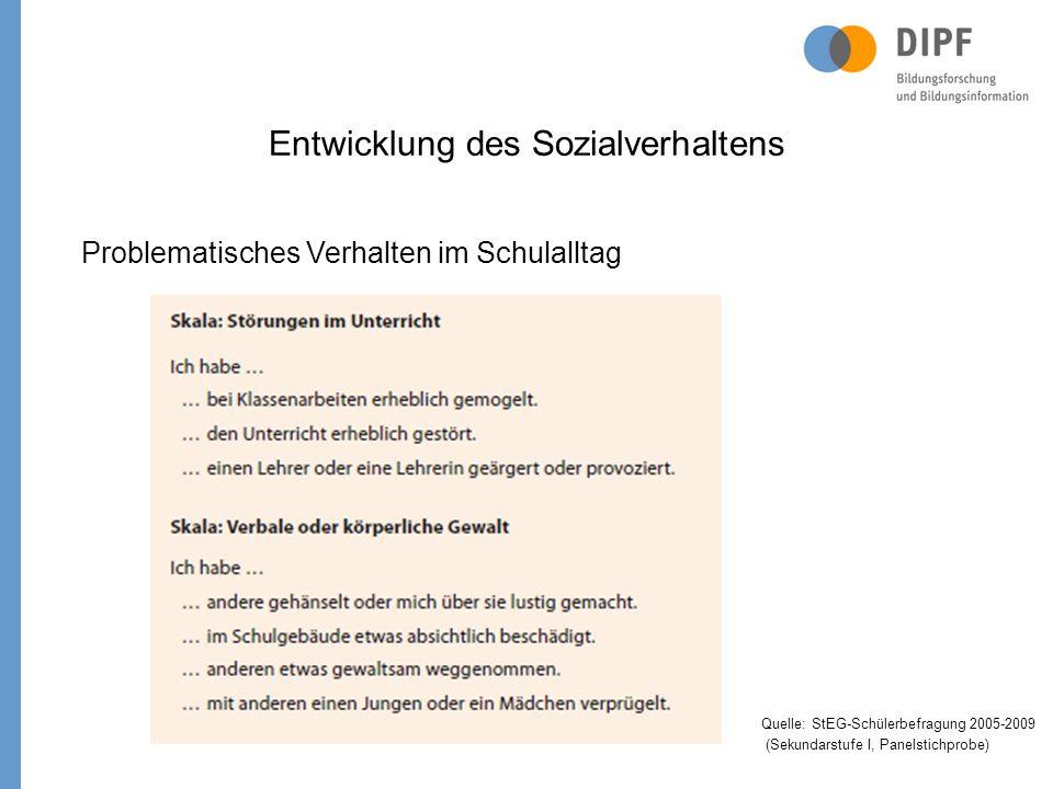 Entwicklung des Sozialverhaltens Problematisches Verhalten im Schulalltag Quelle: StEG-Schülerbefragung 2005-2009 (Sekundarstufe I, Panelstichprobe)
