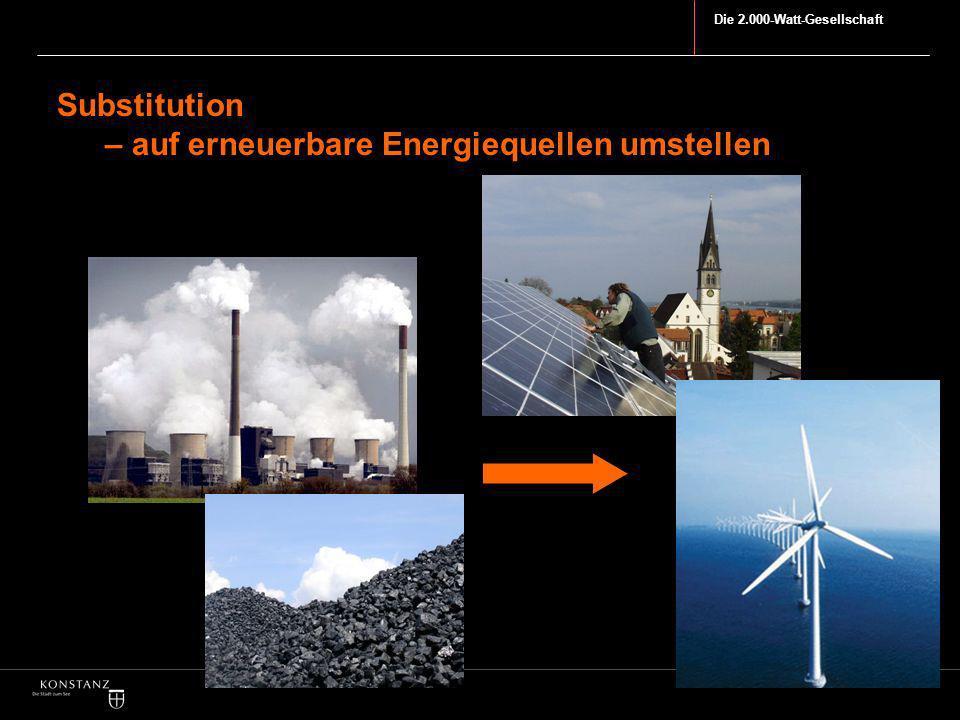 Die 2.000-Watt-Gesellschaft Substitution – auf erneuerbare Energiequellen umstellen