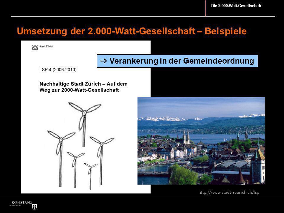 Die 2.000-Watt-Gesellschaft Umsetzung der 2.000-Watt-Gesellschaft – Beispiele http://www.stadt-zuerich.ch/lsp Verankerung in der Gemeindeordnung