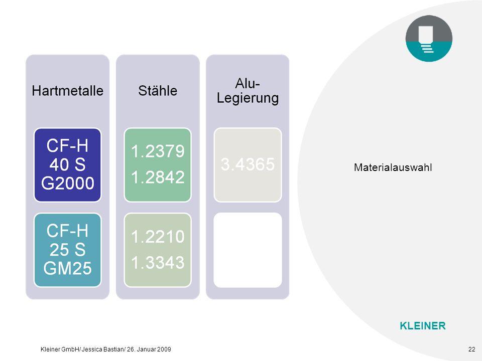 KLEINER Kleiner GmbH/ Jessica Bastian/ 26. Januar 200922 Materialauswahl