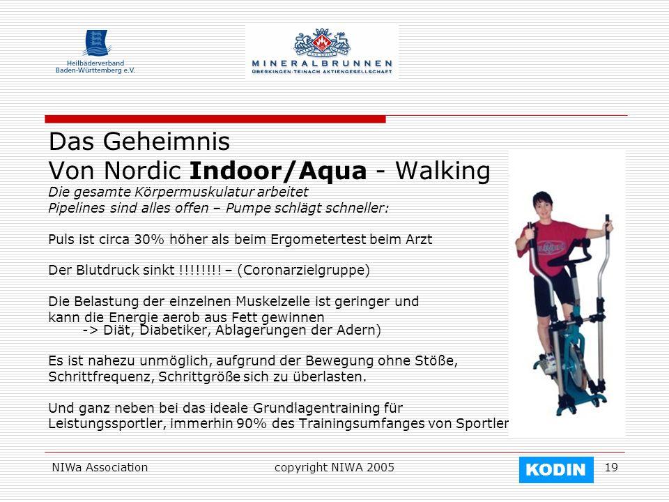 NIWa Associationcopyright NIWA 200519 Das Geheimnis Von Nordic Indoor/Aqua - Walking Die gesamte Körpermuskulatur arbeitet Pipelines sind alles offen