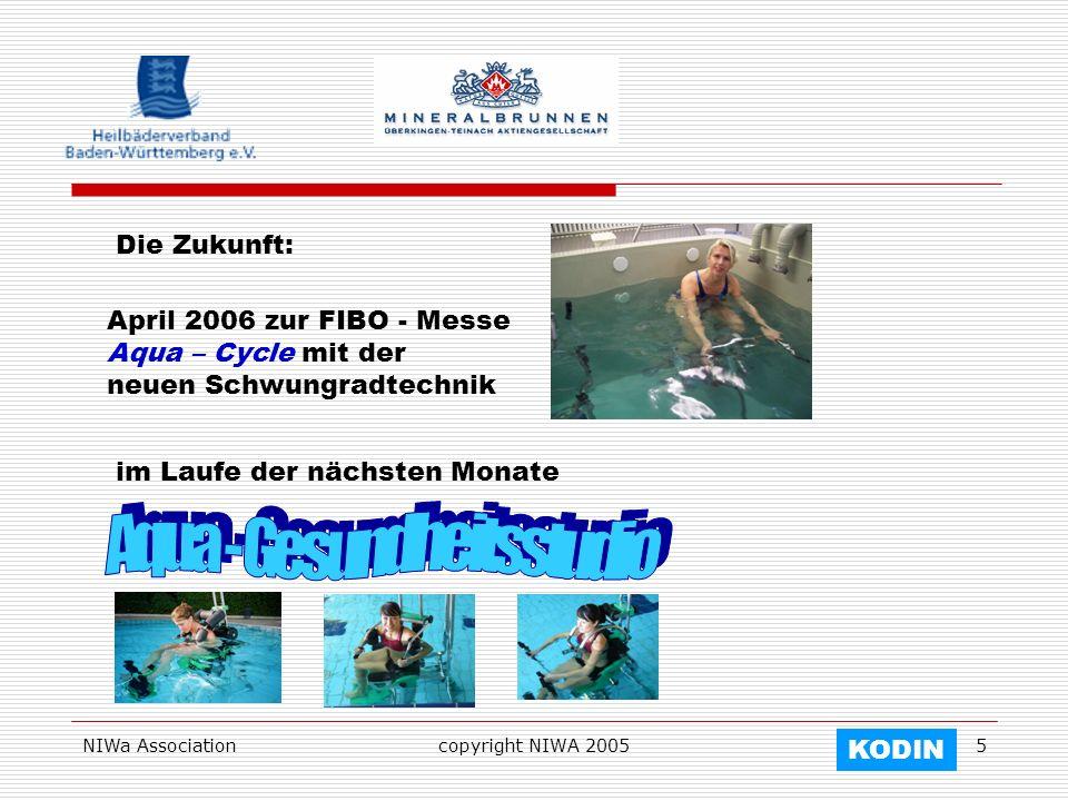 NIWa Associationcopyright NIWA 20055 Die Zukunft: April 2006 zur FIBO - Messe Aqua – Cycle mit der neuen Schwungradtechnik im Laufe der nächsten Monat
