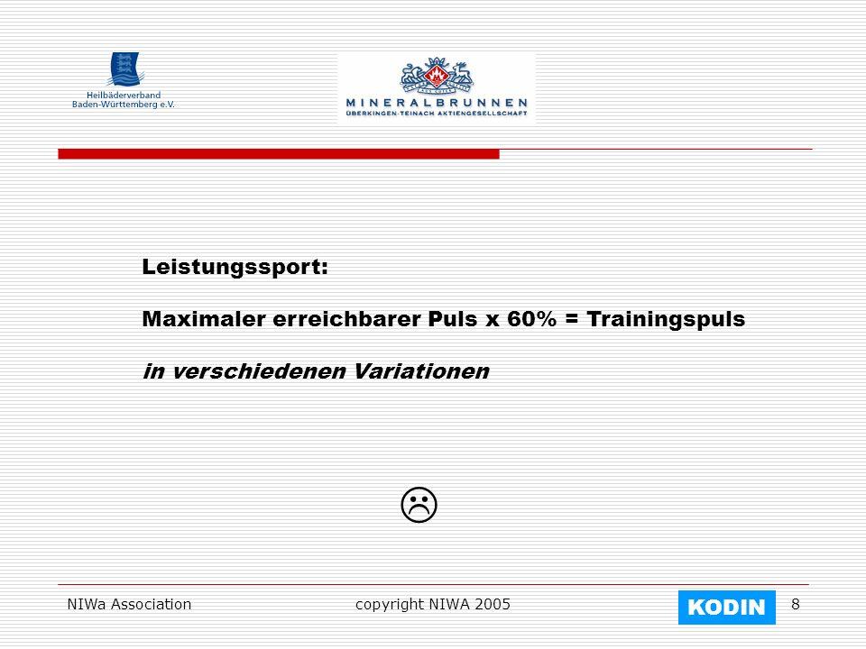 NIWa Associationcopyright NIWA 20058 Leistungssport: Maximaler erreichbarer Puls x 60% = Trainingspuls in verschiedenen Variationen KODIN