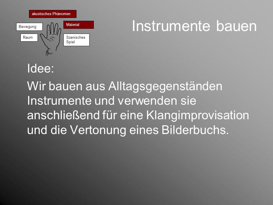 Instrumente bauen akustisches Phänomen Bewegung Material RaumSzenisches Spiel Idee: Wir bauen aus Alltagsgegenständen Instrumente und verwenden sie an