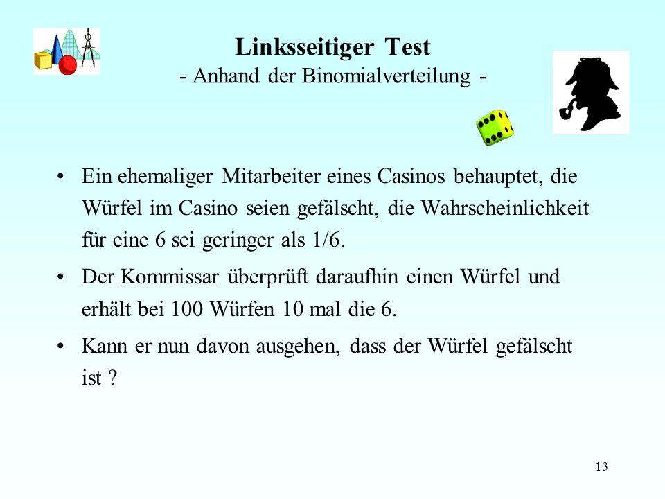 13 Linksseitiger Test - Anhand der Binomialverteilung - Ein ehemaliger Mitarbeiter eines Casinos behauptet, die Würfel im Casino seien gefälscht, die Wahrscheinlichkeit für eine 6 sei geringer als 1/6.