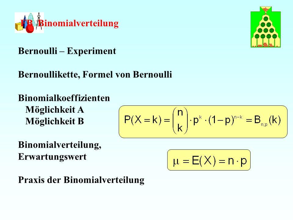 FB Binomialverteilung Bernoulli – Experiment Bernoullikette, Formel von Bernoulli Binomialkoeffizienten Möglichkeit A Möglichkeit B Binomialverteilung, Erwartungswert Praxis der Binomialverteilung