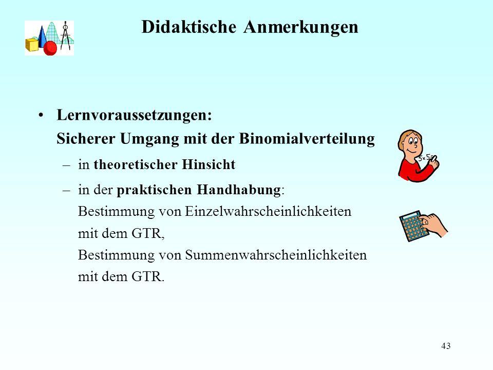 43 Didaktische Anmerkungen Lernvoraussetzungen: Sicherer Umgang mit der Binomialverteilung –in theoretischer Hinsicht –in der praktischen Handhabung: Bestimmung von Einzelwahrscheinlichkeiten mit dem GTR, Bestimmung von Summenwahrscheinlichkeiten mit dem GTR.