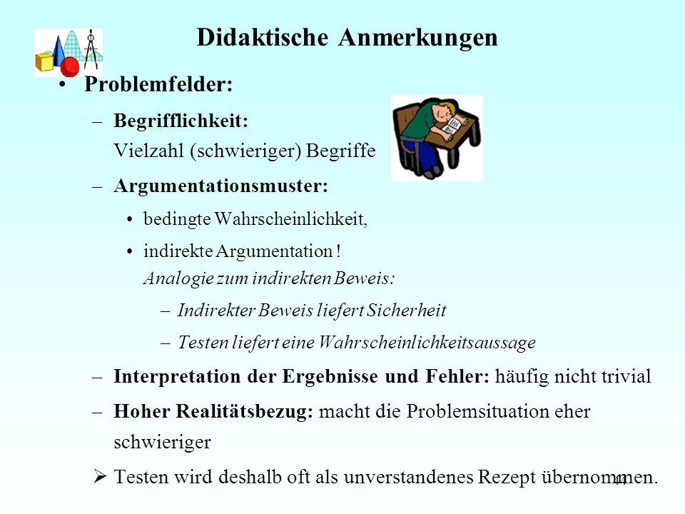 44 Didaktische Anmerkungen Problemfelder: –Begrifflichkeit: Vielzahl (schwieriger) Begriffe –Argumentationsmuster: bedingte Wahrscheinlichkeit, indirekte Argumentation .