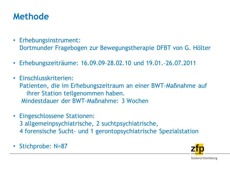 Methode Erhebungsinstrument: Dortmunder Fragebogen zur Bewegungstherapie DFBT von G. Hölter Erhebungszeiträume: 16.09.09–28.02.10 und 19.01.–26.07.201