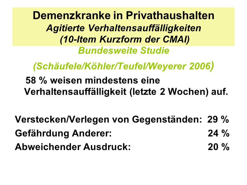 Demenzkranke in Privathaushalten Agitierte Verhaltensauffälligkeiten (10-Item Kurzform der CMAI) Bundesweite Studie (Schäufele/Köhler/Teufel/Weyerer 2