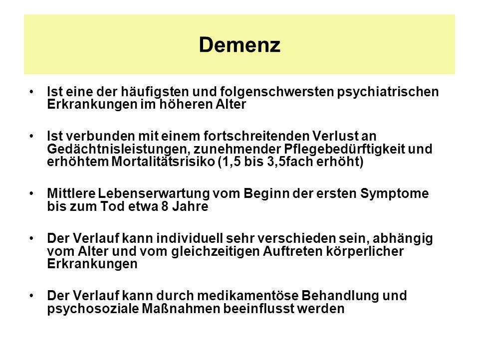 Demenz Ist eine der häufigsten und folgenschwersten psychiatrischen Erkrankungen im höheren Alter Ist verbunden mit einem fortschreitenden Verlust an