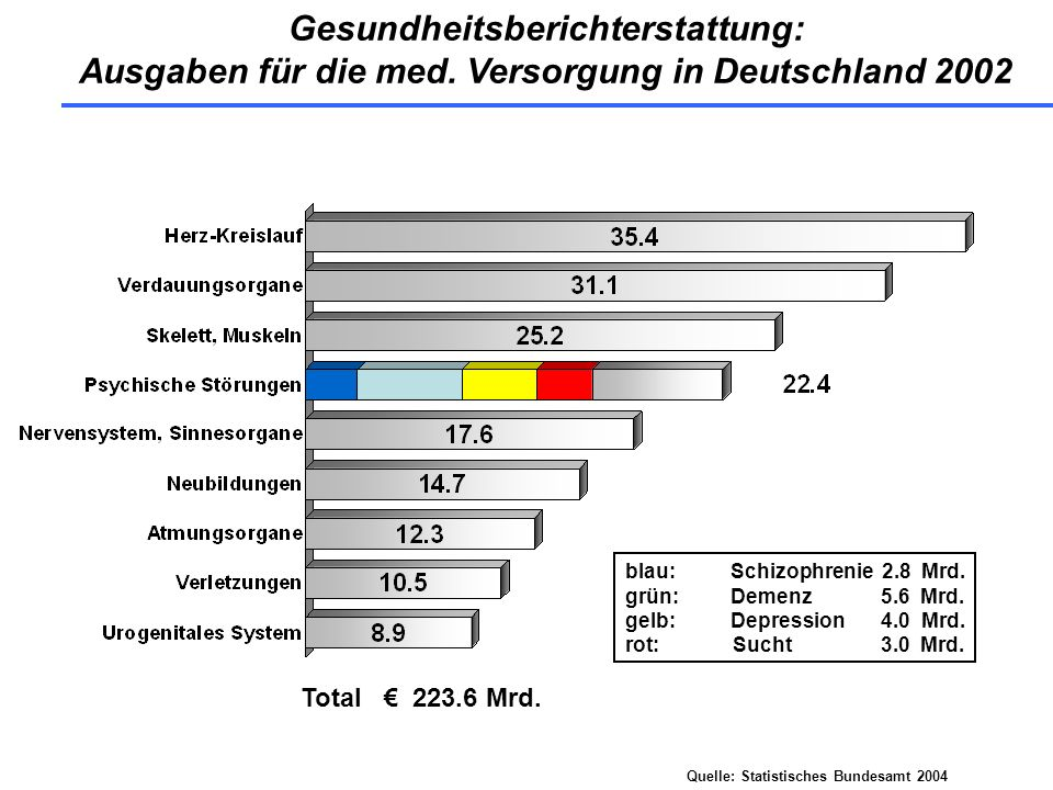 Gesundheitsberichterstattung: Ausgaben für die med. Versorgung in Deutschland 2002 Total 223.6 Mrd. Quelle: Statistisches Bundesamt 2004 blau:Schizoph