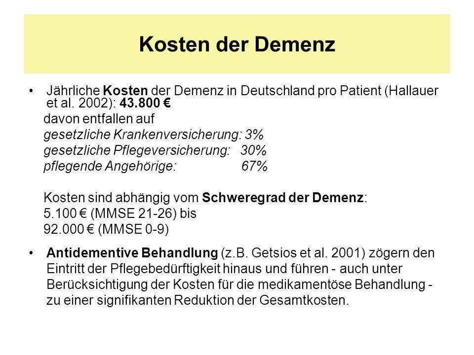 Kosten der Demenz Jährliche Kosten der Demenz in Deutschland pro Patient (Hallauer et al. 2002): 43.800 davon entfallen auf gesetzliche Krankenversich