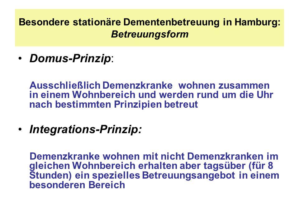 Besondere stationäre Dementenbetreuung in Hamburg: Betreuungsform Domus-Prinzip: Ausschließlich Demenzkranke wohnen zusammen in einem Wohnbereich und