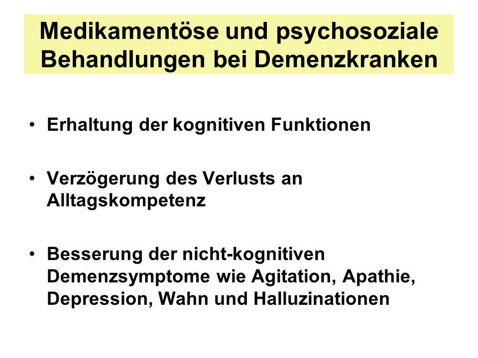 Medikamentöse und psychosoziale Behandlungen bei Demenzkranken Erhaltung der kognitiven Funktionen Verzögerung des Verlusts an Alltagskompetenz Besser