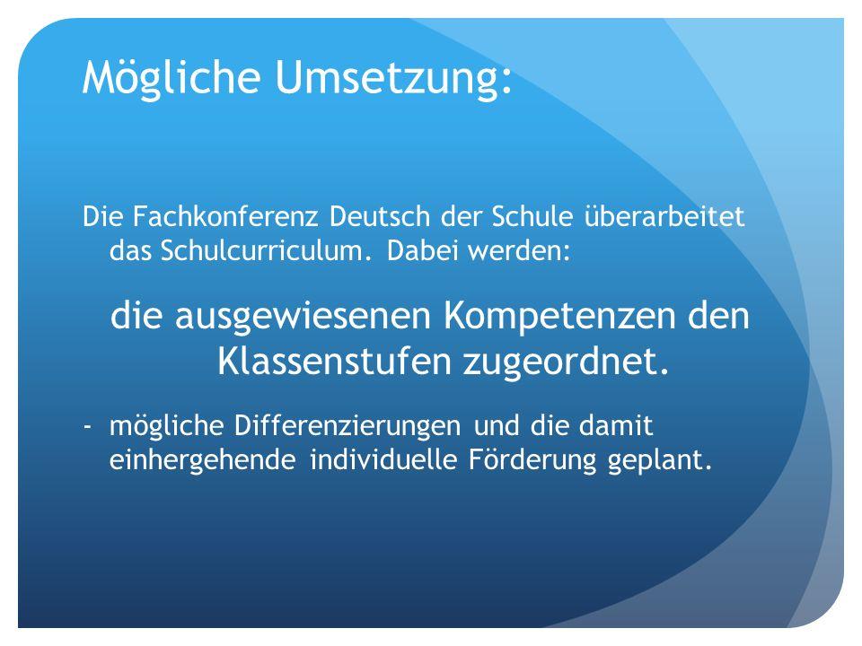 Beispiel zur Kompetenzverteilung: Kompetenz im Bildungsplan: Redestrategien einsetzen, zum Beispiel Fünfsatz, Anknüpfungen formulieren d.h.