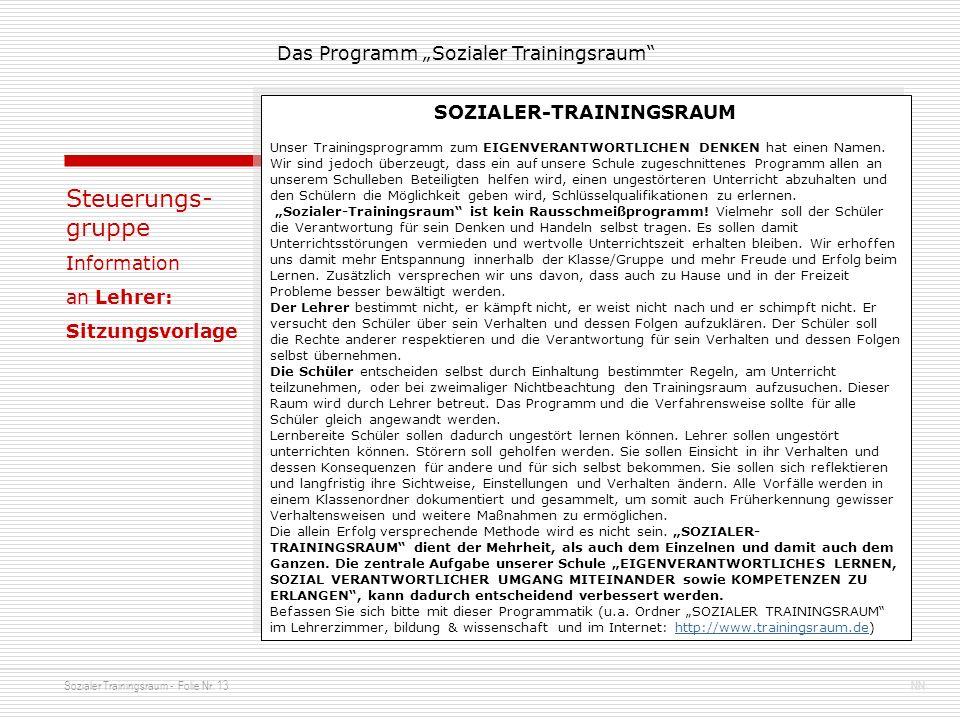 Sozialer Trainingsraum - Folie Nr. 13NN Das Programm Sozialer Trainingsraum Steuerungs- gruppe Information an Lehrer: Sitzungsvorlage SOZIALER-TRAININ