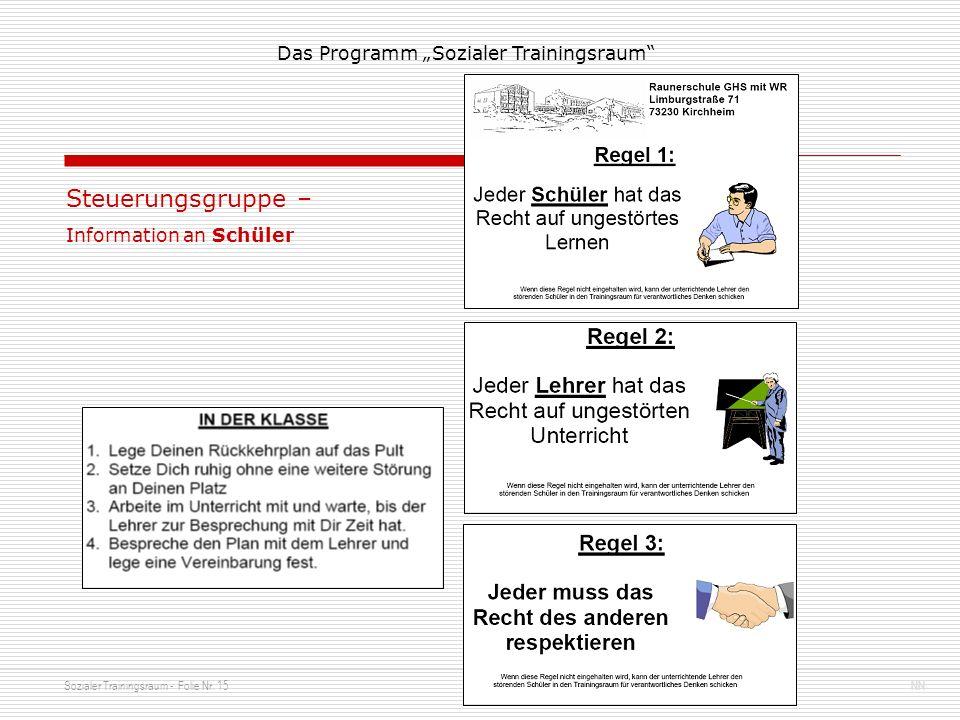 Sozialer Trainingsraum - Folie Nr. 15NN Das Programm Sozialer Trainingsraum Steuerungsgruppe – Information an Schüler