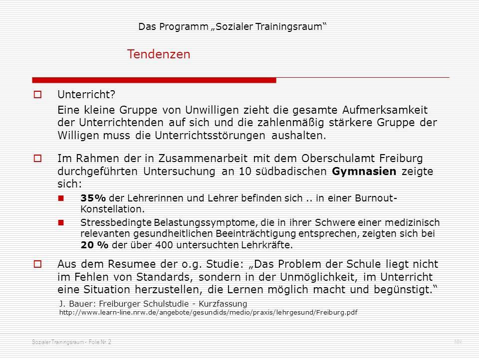 Sozialer Trainingsraum - Folie Nr. 2NN Das Programm Sozialer Trainingsraum Im Rahmen der in Zusammenarbeit mit dem Oberschulamt Freiburg durchgeführte