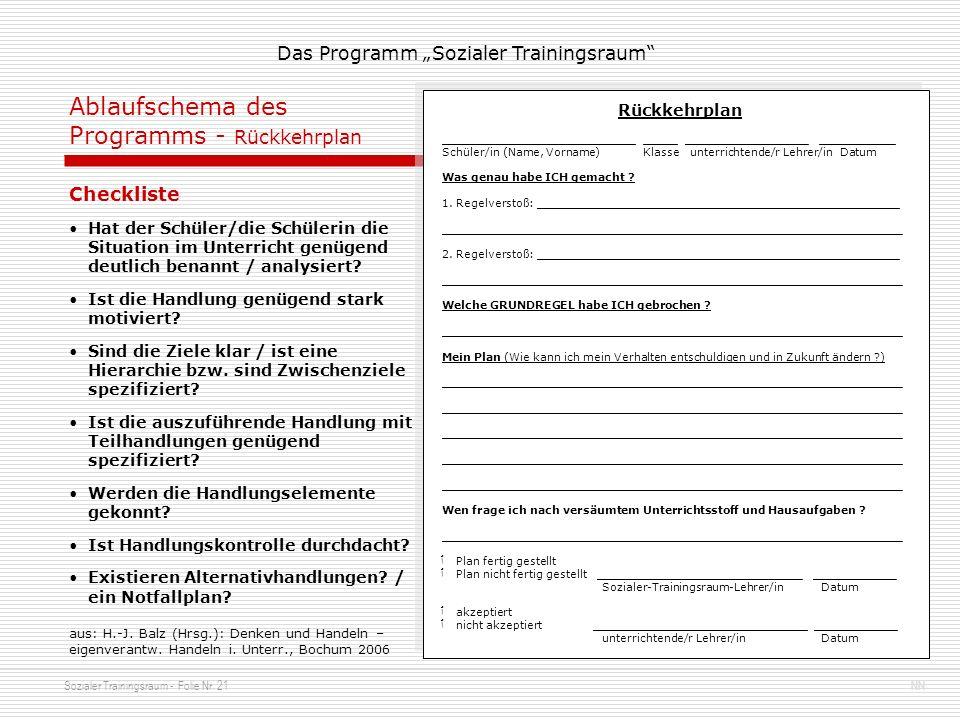 Sozialer Trainingsraum - Folie Nr. 21NN Das Programm Sozialer Trainingsraum Ablaufschema des Programms - Rückkehrplan Rückkehrplan ___________________