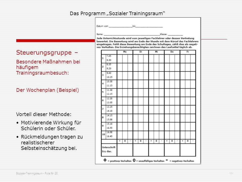 Sozialer Trainingsraum - Folie Nr. 28NN Das Programm Sozialer Trainingsraum Steuerungsgruppe – Besondere Maßnahmen bei häufigem Trainingsraumbesuch: D