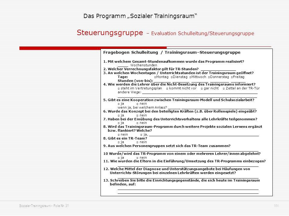 Sozialer Trainingsraum - Folie Nr. 31NN Das Programm Sozialer Trainingsraum Steuerungsgruppe – Evaluation Schulleitung/Steuerungsgruppe Fragebogen Sch