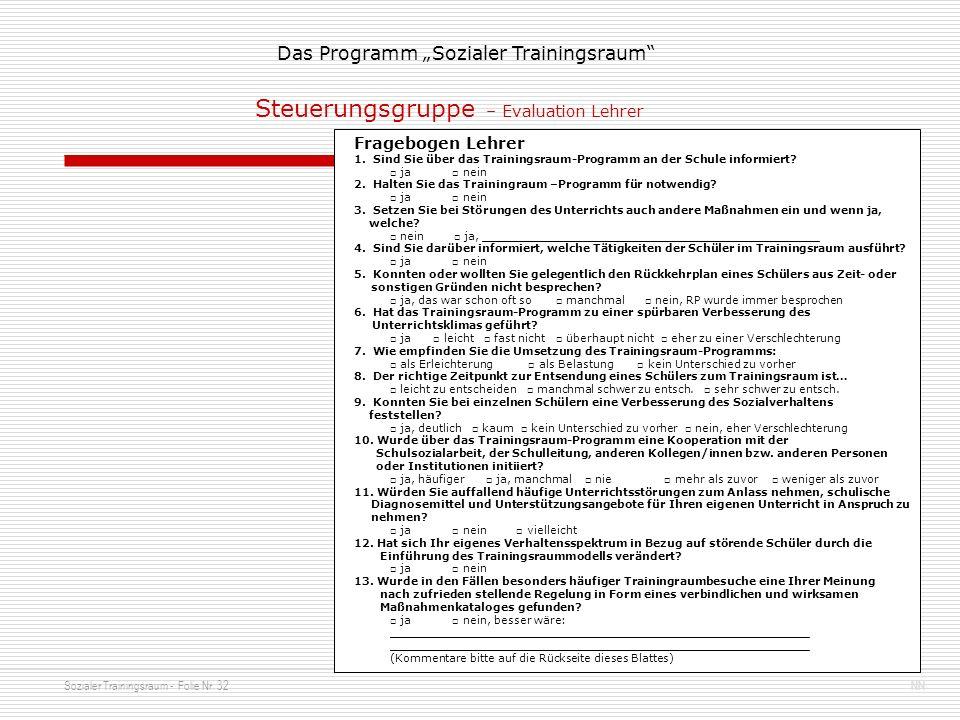 Sozialer Trainingsraum - Folie Nr. 32NN Das Programm Sozialer Trainingsraum Fragebogen Lehrer 1. Sind Sie über das Trainingsraum-Programm an der Schul