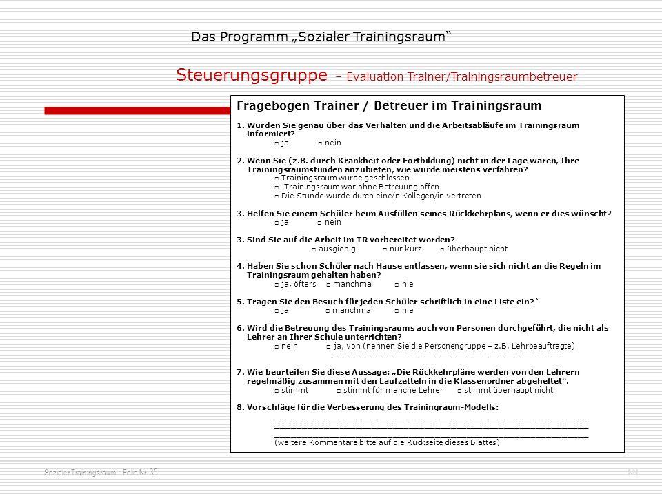 Sozialer Trainingsraum - Folie Nr. 35NN Das Programm Sozialer Trainingsraum Fragebogen Trainer / Betreuer im Trainingsraum 1. Wurden Sie genau über da