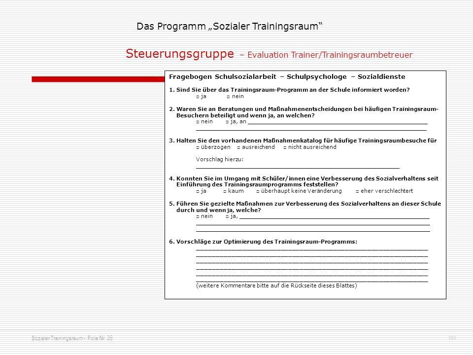 Sozialer Trainingsraum - Folie Nr. 36NN Das Programm Sozialer Trainingsraum Fragebogen Schulsozialarbeit – Schulpsychologe – Sozialdienste 1. Sind Sie