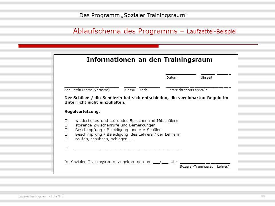 Sozialer Trainingsraum - Folie Nr. 7NN Das Programm Sozialer Trainingsraum Ablaufschema des Programms – Laufzettel-Beispiel Informationen an den Train