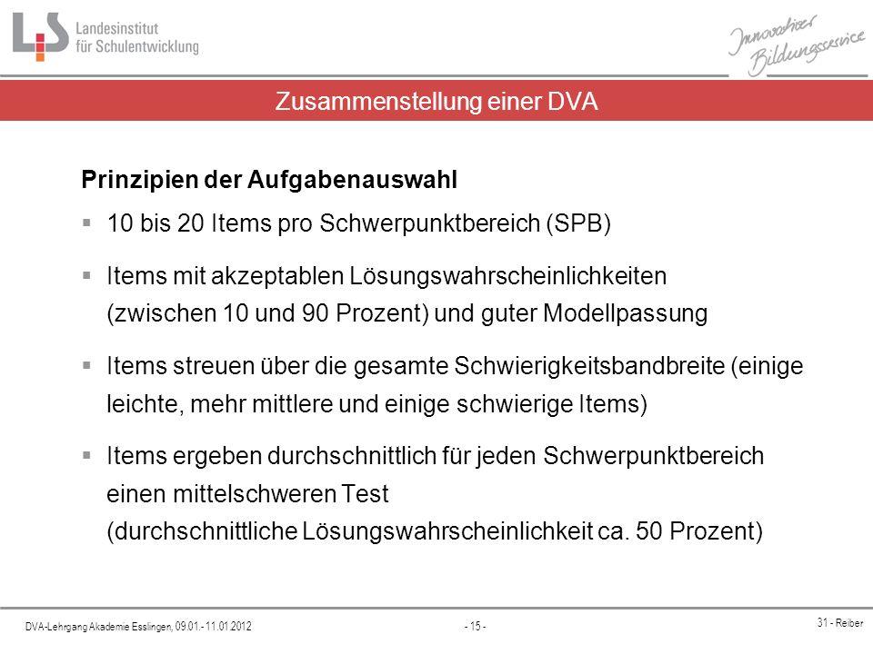DVA-Lehrgang Akademie Esslingen, 09.01.- 11.01.2012 - 15 - 31 - Reiber Prinzipien der Aufgabenauswahl 10 bis 20 Items pro Schwerpunktbereich (SPB) Ite