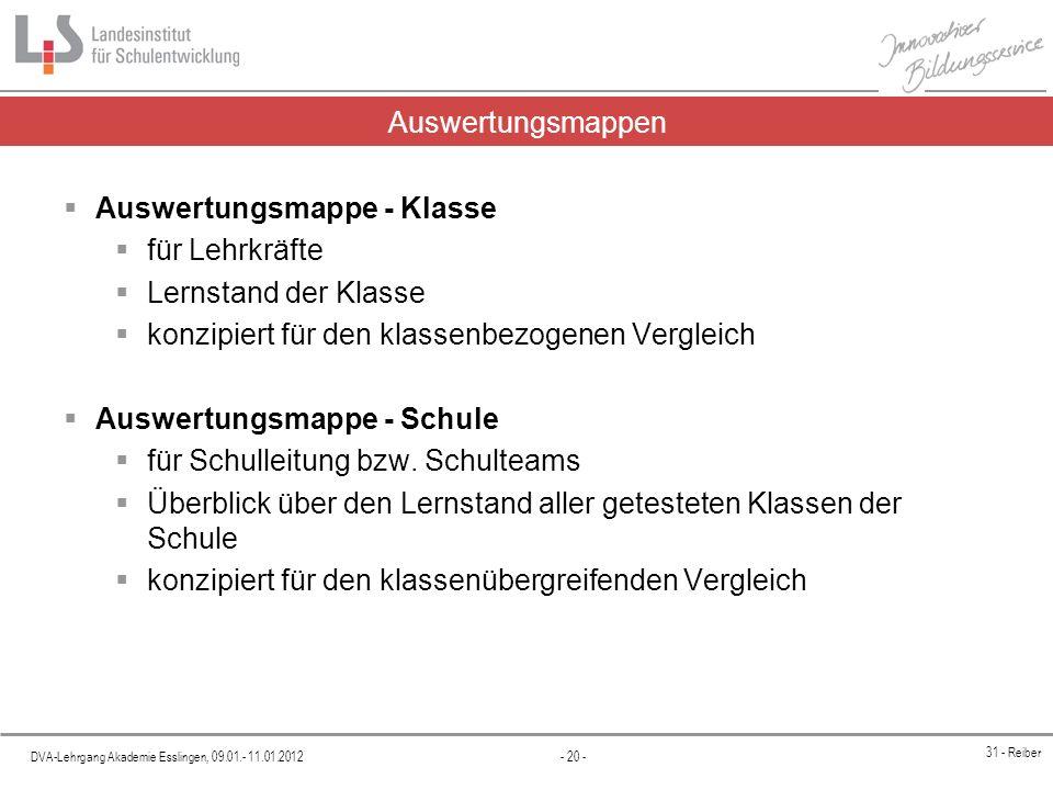 DVA-Lehrgang Akademie Esslingen, 09.01.- 11.01.2012 - 20 - 31 - Reiber Auswertungsmappen Auswertungsmappe - Klasse für Lehrkräfte Lernstand der Klasse
