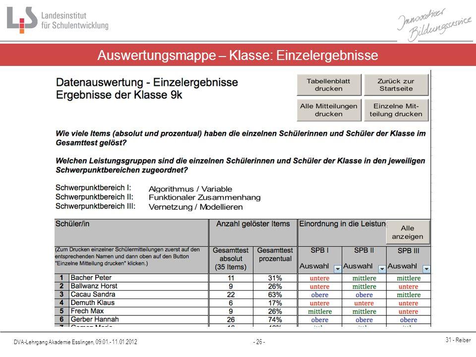 DVA-Lehrgang Akademie Esslingen, 09.01.- 11.01.2012 - 26 - 31 - Reiber Auswertungsmappe – Klasse: Einzelergebnisse