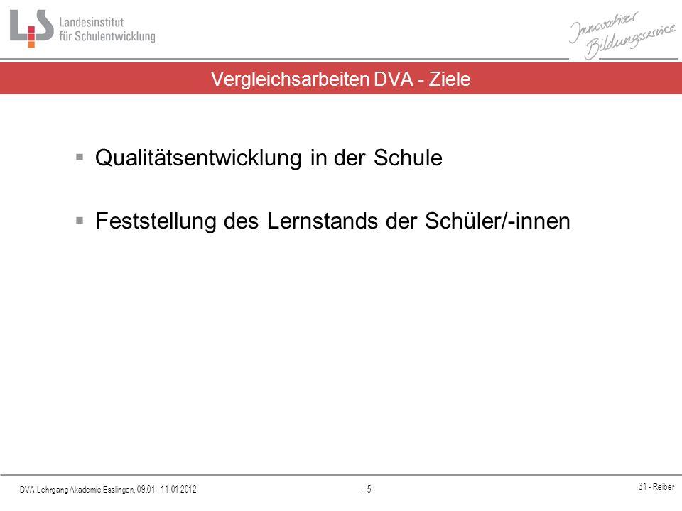 DVA-Lehrgang Akademie Esslingen, 09.01.- 11.01.2012 - 5 - 31 - Reiber Vergleichsarbeiten DVA - Ziele Qualitätsentwicklung in der Schule Feststellung d