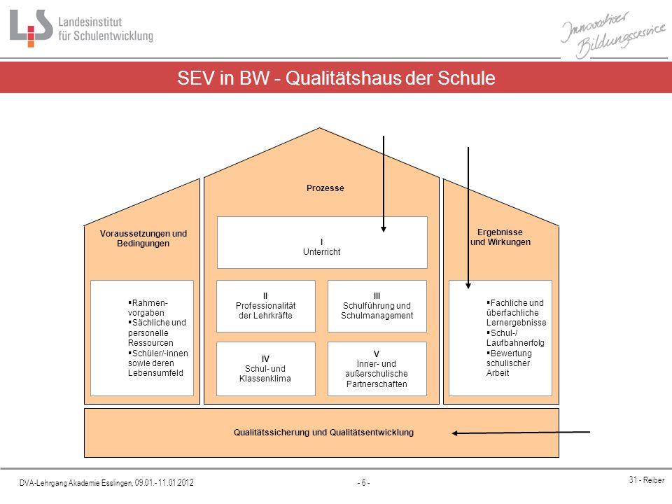 DVA-Lehrgang Akademie Esslingen, 09.01.- 11.01.2012 - 6 - 31 - Reiber SEV in BW - Qualitätshaus der Schule Prozesse Voraussetzungen und Bedingungen Er