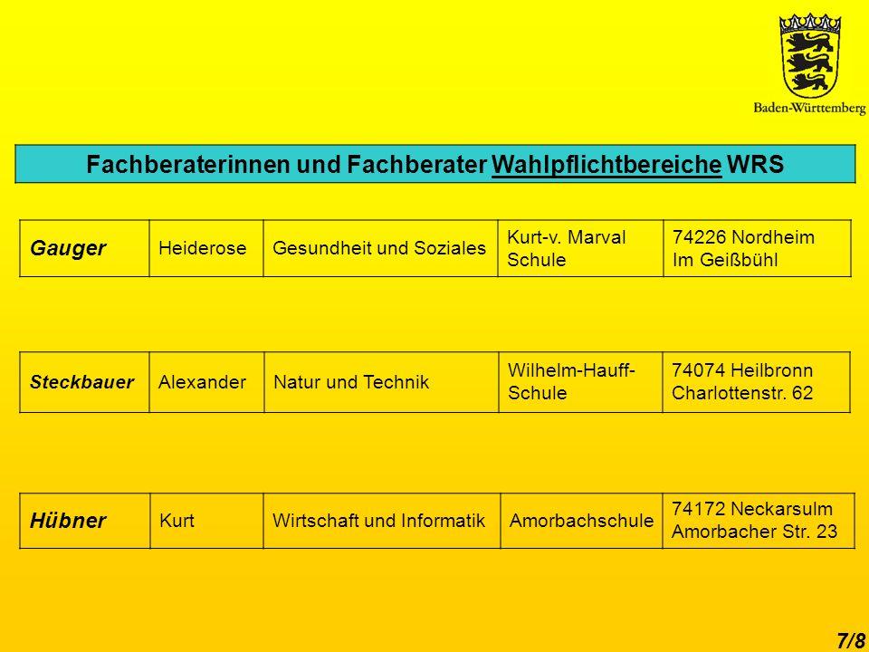 7/8 Fachberaterinnen und Fachberater Wahlpflichtbereiche WRS Hübner KurtWirtschaft und InformatikAmorbachschule 74172 Neckarsulm Amorbacher Str.