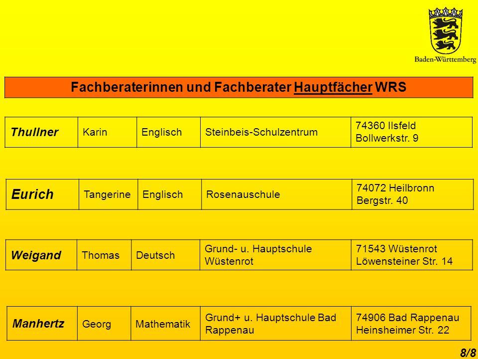 8/8 Fachberaterinnen und Fachberater Hauptfächer WRS Weigand ThomasDeutsch Grund- u.