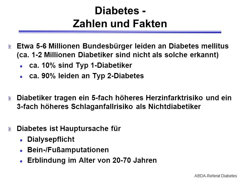 ABDA-Referat Diabetes Diabetes - Zahlen und Fakten 2 Etwa 5-6 Millionen Bundesbürger leiden an Diabetes mellitus (ca. 1-2 Millionen Diabetiker sind ni