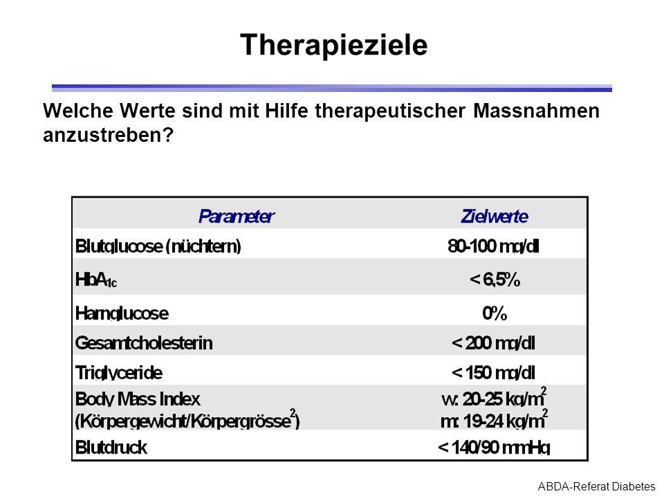 ABDA-Referat Diabetes Therapieziele Welche Werte sind mit Hilfe therapeutischer Massnahmen anzustreben?