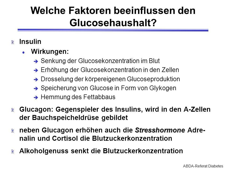 ABDA-Referat Diabetes Welche Faktoren beeinflussen den Glucosehaushalt? 2 Insulin l Wirkungen: Senkung der Glucosekonzentration im Blut Erhöhung der G