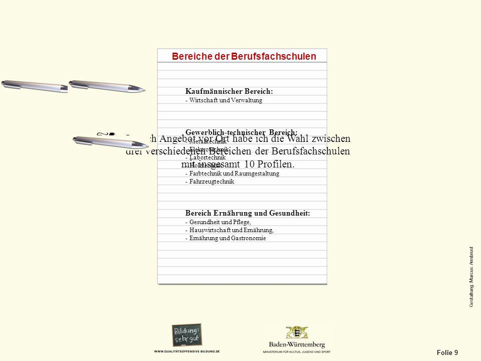 Kaufmännischer Bereich: - Wirtschaft und Verwaltung Gewerblich-technischer Bereich: - Metalltechnik - Elektrotechnik - Labortechnik - Holztechnik - Fa