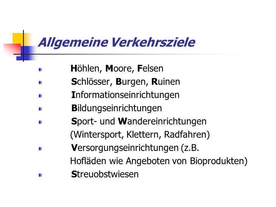 Allgemeine Verkehrsziele Höhlen, Moore, Felsen Schlösser, Burgen, Ruinen Informationseinrichtungen Bildungseinrichtungen Sport- und Wandereinrichtunge
