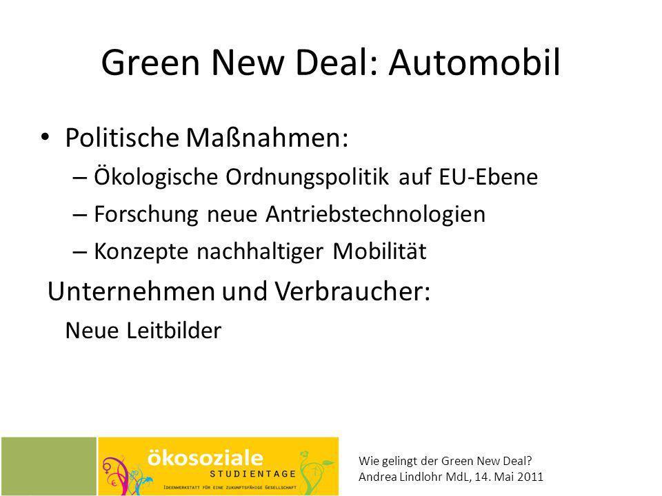 Wie gelingt der Green New Deal? Andrea Lindlohr MdL, 14. Mai 2011 Green New Deal: Automobil Politische Maßnahmen: – Ökologische Ordnungspolitik auf EU