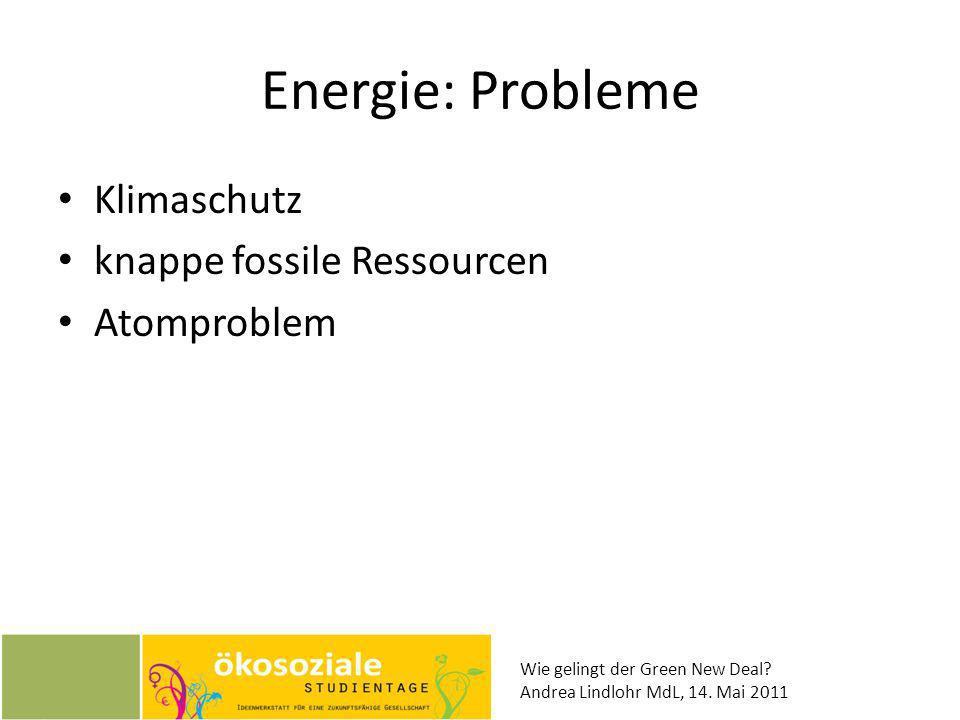 Wie gelingt der Green New Deal? Andrea Lindlohr MdL, 14. Mai 2011 Energie: Probleme Klimaschutz knappe fossile Ressourcen Atomproblem