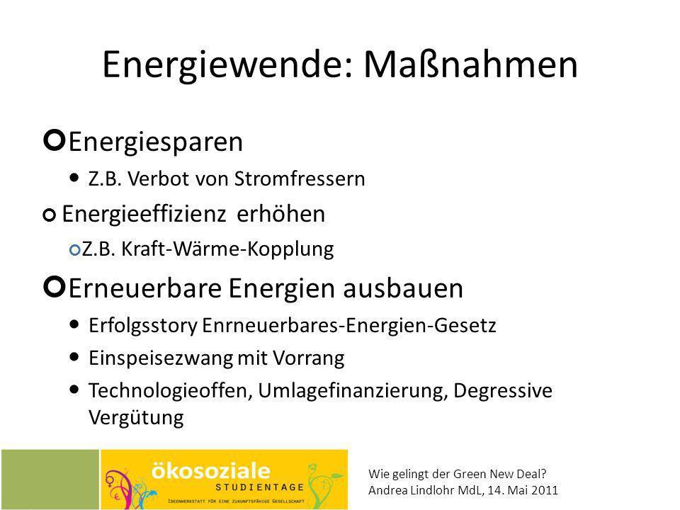 Wie gelingt der Green New Deal? Andrea Lindlohr MdL, 14. Mai 2011 Energiewende: Maßnahmen Energiesparen Z.B. Verbot von Stromfressern Energieeffizienz