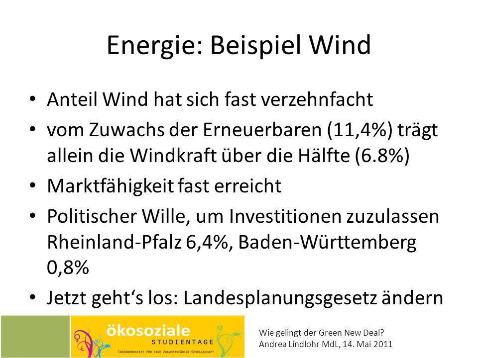 Wie gelingt der Green New Deal? Andrea Lindlohr MdL, 14. Mai 2011 Energie: Beispiel Wind Anteil Wind hat sich fast verzehnfacht vom Zuwachs der Erneue