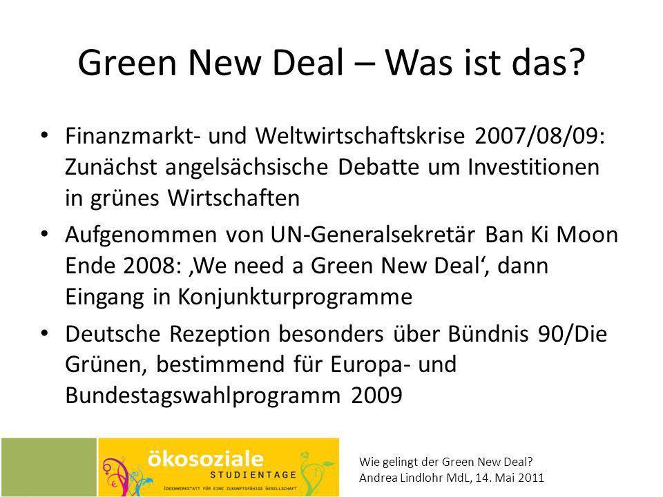 Wie gelingt der Green New Deal? Andrea Lindlohr MdL, 14. Mai 2011 Green New Deal – Was ist das? Finanzmarkt- und Weltwirtschaftskrise 2007/08/09: Zunä