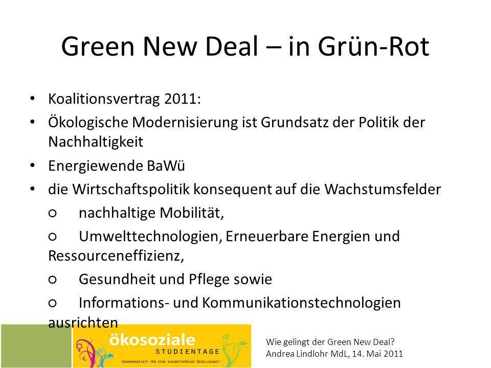 Wie gelingt der Green New Deal? Andrea Lindlohr MdL, 14. Mai 2011 Green New Deal – in Grün-Rot Koalitionsvertrag 2011: Ökologische Modernisierung ist