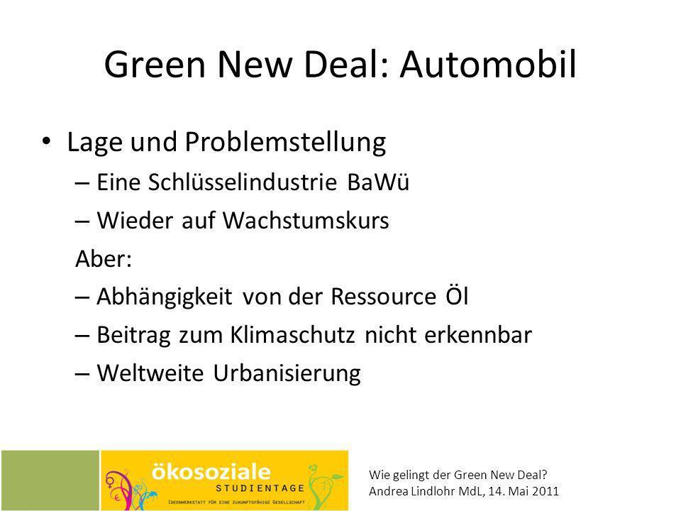 Wie gelingt der Green New Deal? Andrea Lindlohr MdL, 14. Mai 2011 Green New Deal: Automobil Lage und Problemstellung – Eine Schlüsselindustrie BaWü –